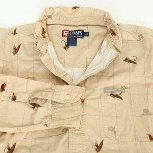 Chaps Ralph Lauren Mens Shirt Fly Fishing Large